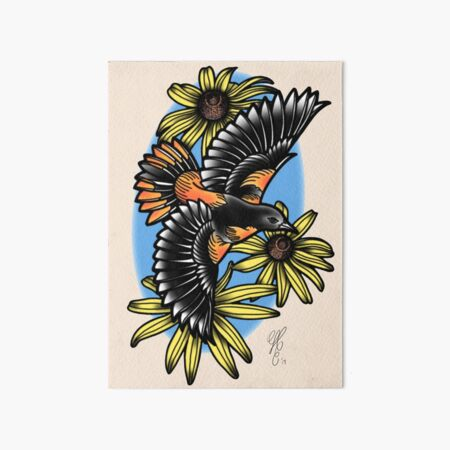 Oriole with Black Eyed Susans Art Board Print