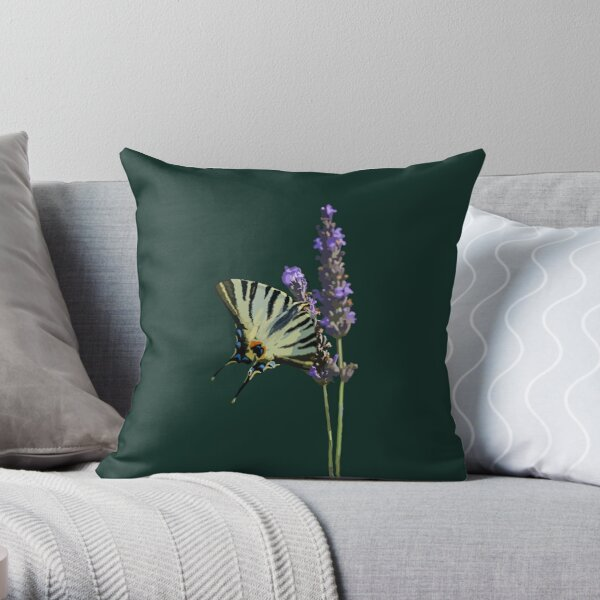 Swallowtail Butterfly on Lavender Throw Pillow