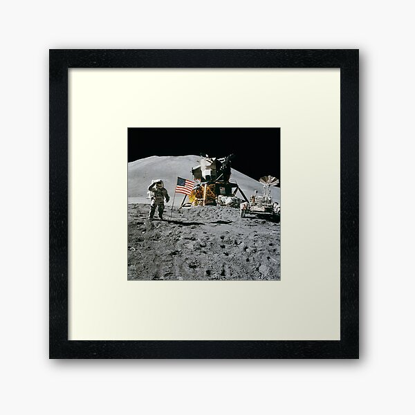 Astronaut and American Flag Apollo Moon Mission Framed Art Print