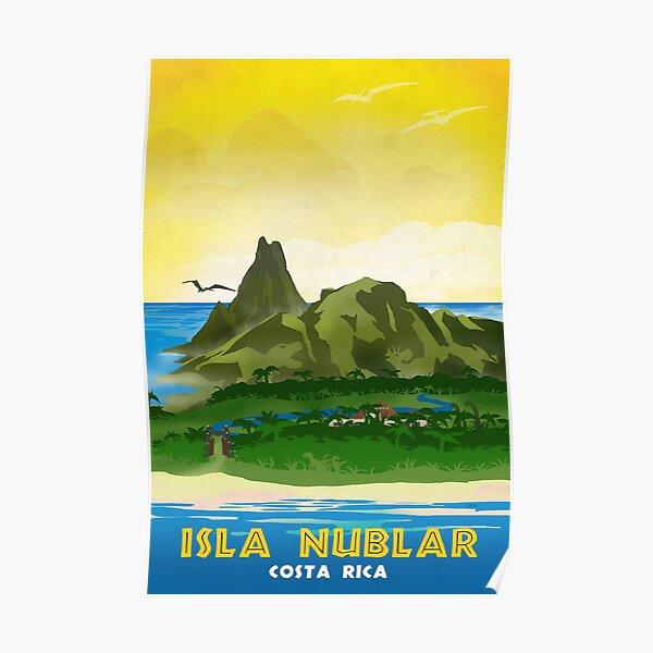 Isla Nublar - Cartel de viaje retro del Parque Jurásico Póster