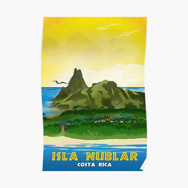 Isla Nublar - Affiche de voyage rétro Jurassic Park Poster