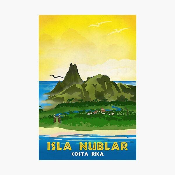 Isla Nublar - Retro Jurassic Park Travel Poster Photographic Print