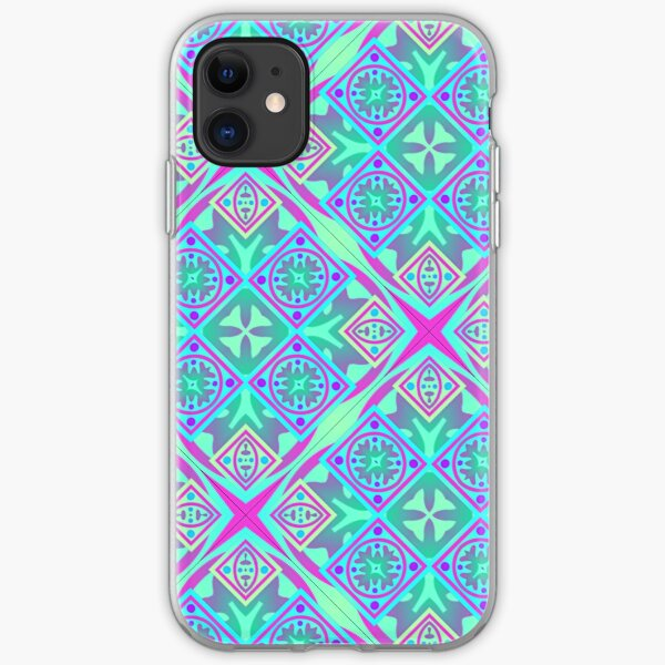 Magenta and Teal Mosaic Pattern iPhone Soft Case