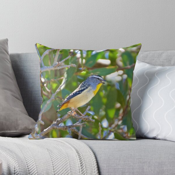 PARDALOTE ~ Spotted Pardalote by David Irwin ~ WO Throw Pillow