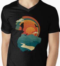 Camiseta para hombre de cuello en v Borde del acantilado