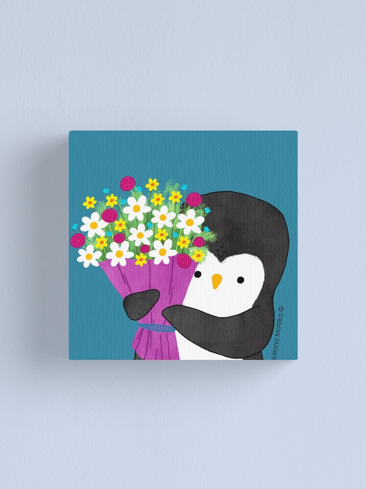 Alternate view of Penguin with Flowers Canvas Print