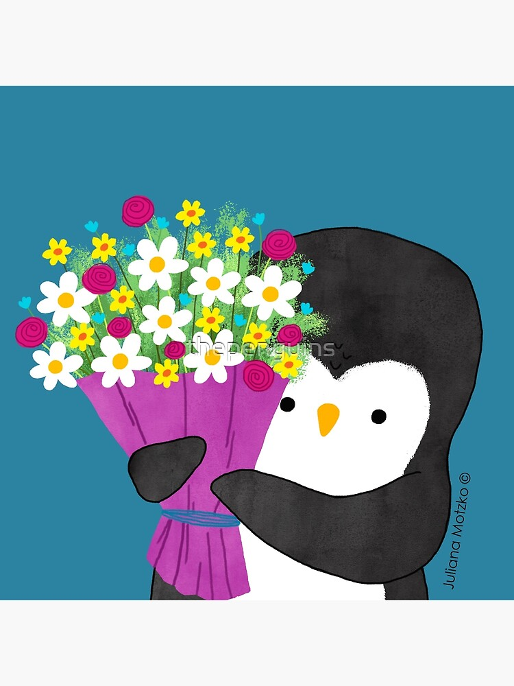 Penguin with Flowers by thepenguins