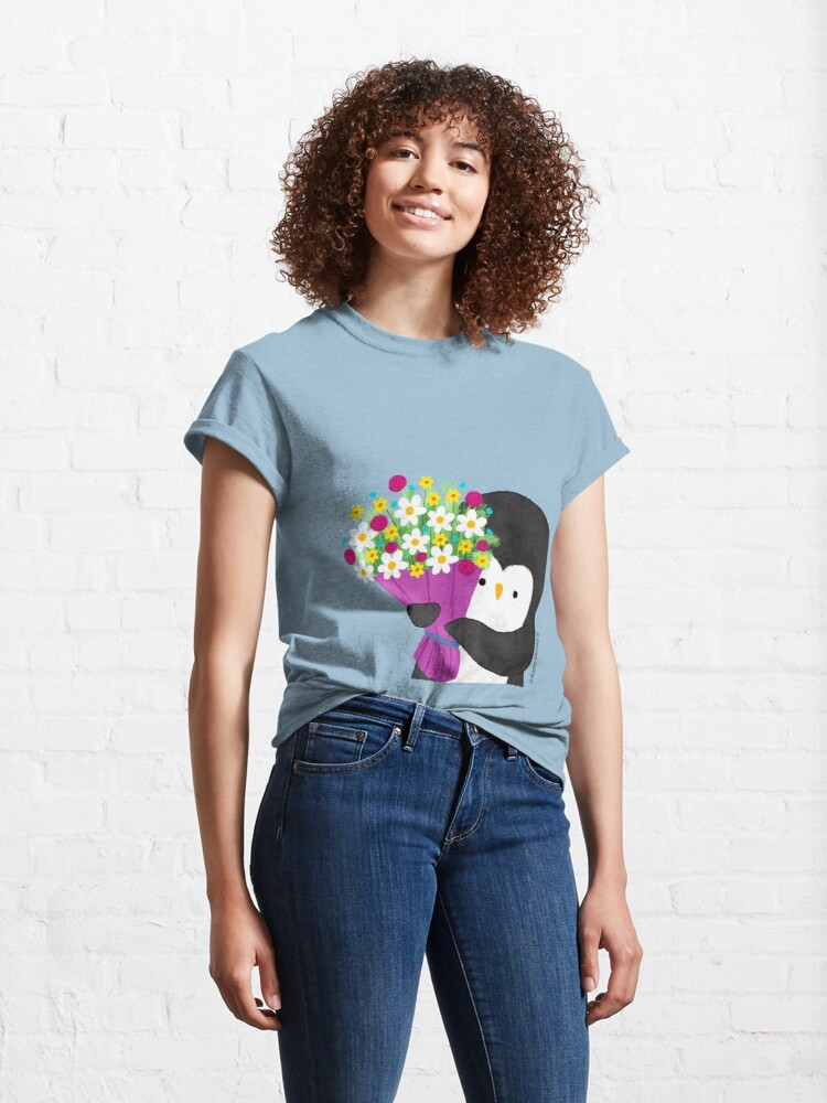 Alternate view of Penguin with Flowers Classic T-Shirt