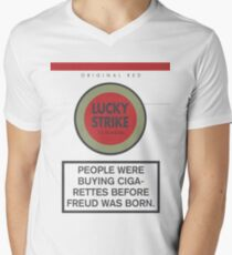 Lucky Strike Cigarette Box with Mad Men Quote Mens V-Neck T-Shirt