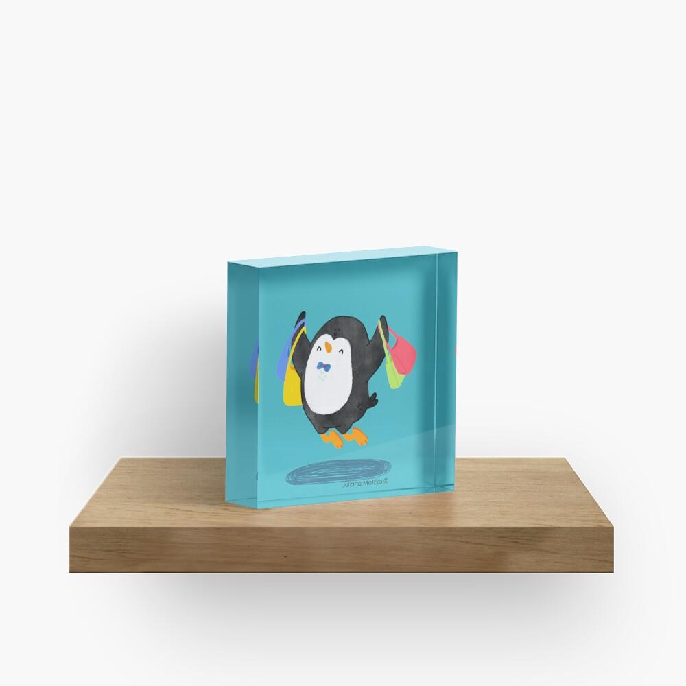 Penguin Shopping Acrylic Block