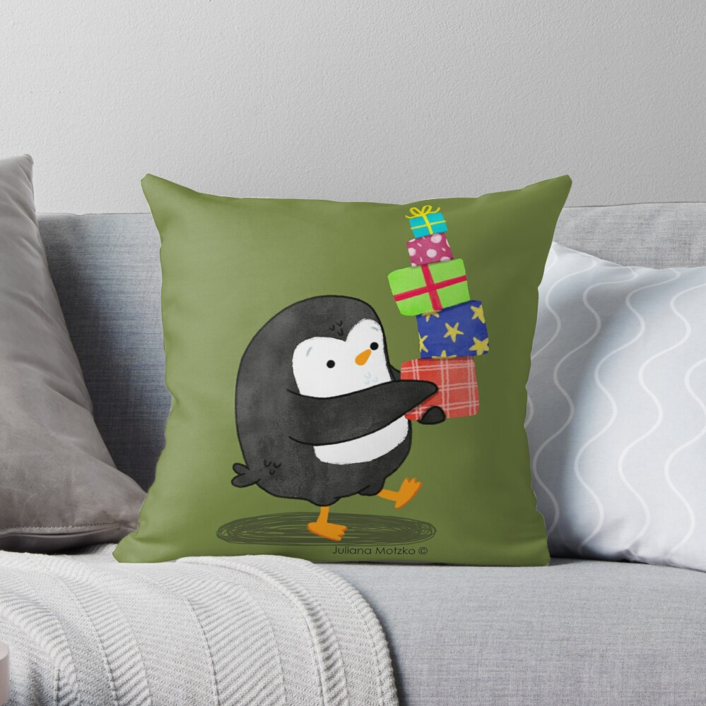 Penguin with some Gifts Throw Pillow