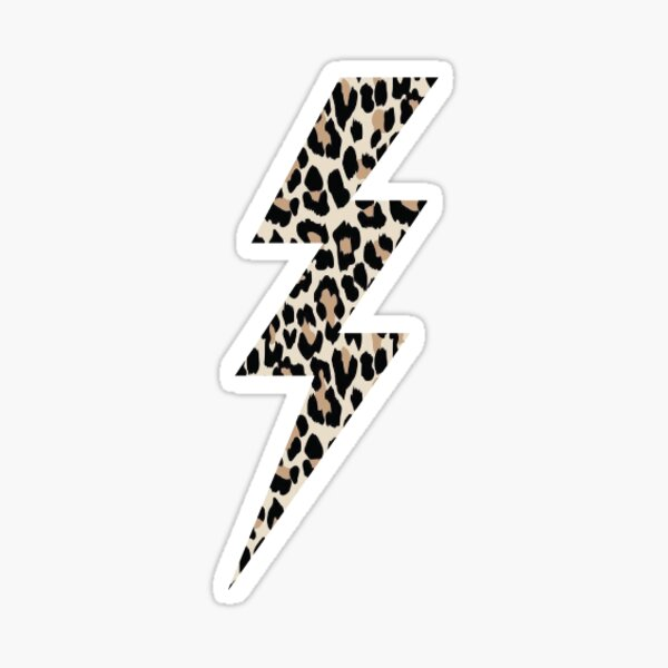 leopard print lightning bolt Sticker