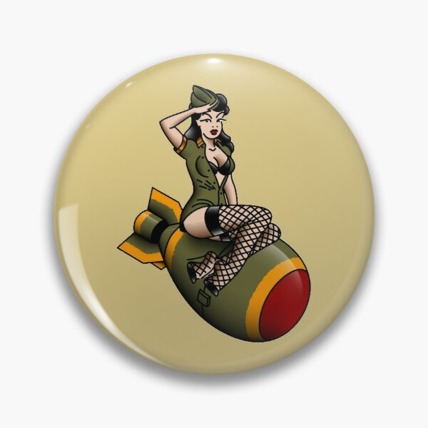 Salty-Dog American Traditional Patriotic Atomic Bomb Belle Pin-up Girl Pin