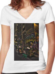Degraves St 02 Women's Fitted V-Neck T-Shirt