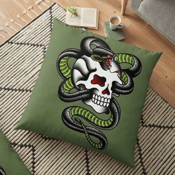 Salty-Dog American Traditional Serpent Skull Floor Pillow