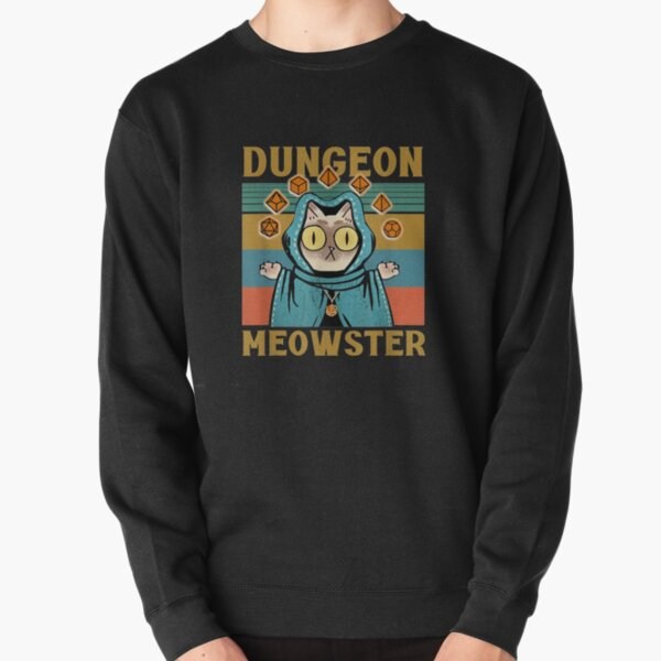 Dungeon Meowster Funny Nerdy-Gamer Cat-D20 Dice RPG Pullover Sweatshirt
