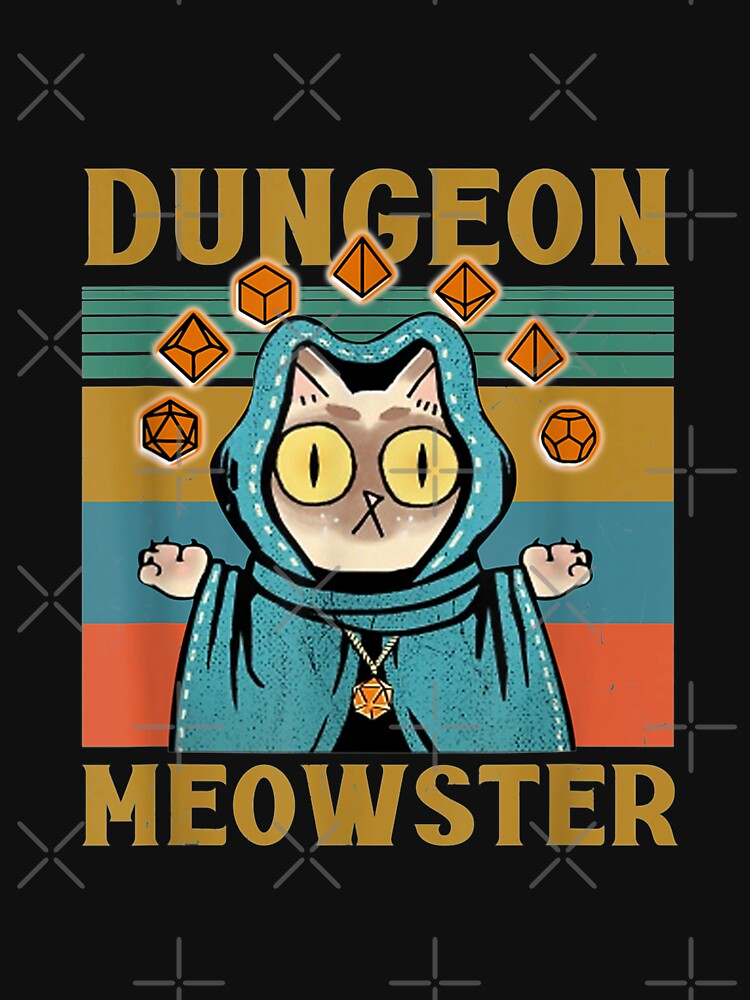 Dungeon Meowster Funny Nerdy-Gamer Cat-D20 Dice RPG by LoriMcLaurin