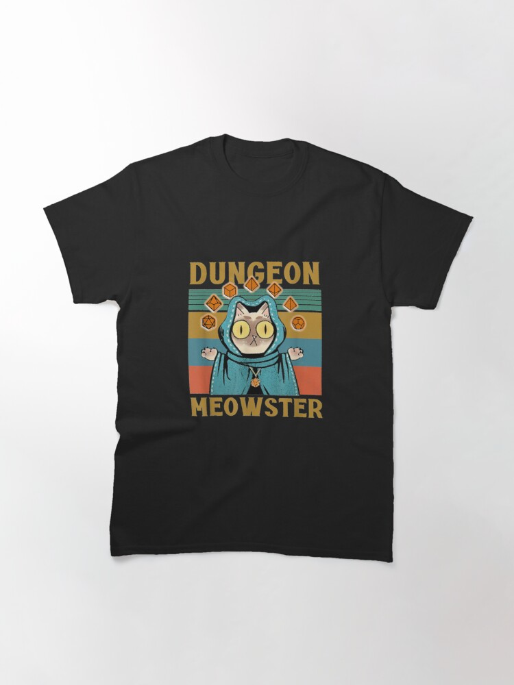 Alternate view of Dungeon Meowster Funny Nerdy-Gamer Cat-D20 Dice RPG Classic T-Shirt