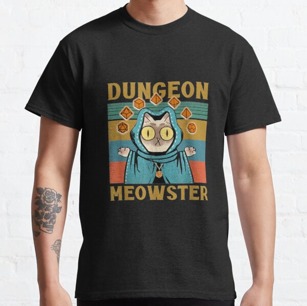 Dungeon Meowster Funny Nerdy-Gamer Cat-D20 Dice RPG Classic T-Shirt