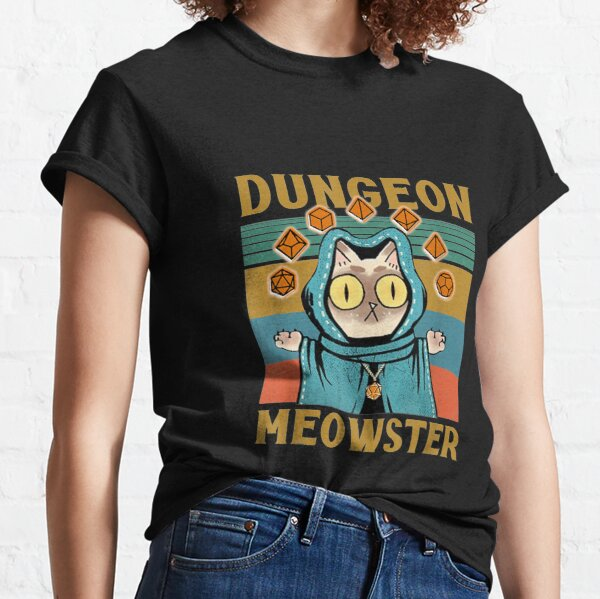 Dungeon Meowster Funny Nerdy-Gamer Cat-D20 Dice RPG T-shirt classique