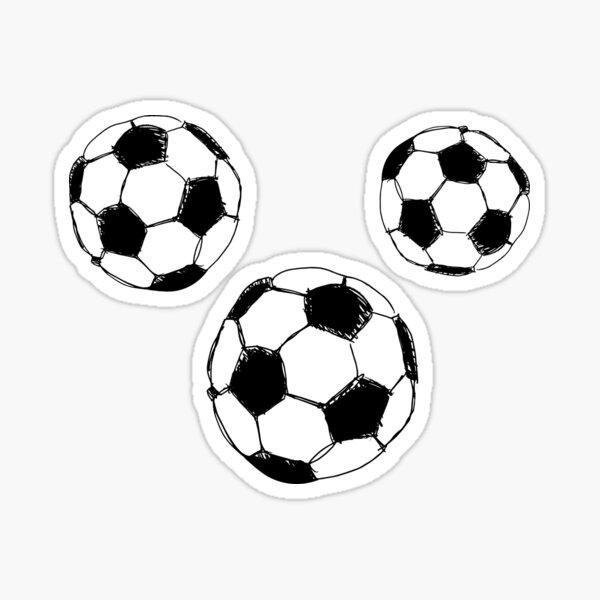 Ilustración simple de tres balones de futbol  Pegatina