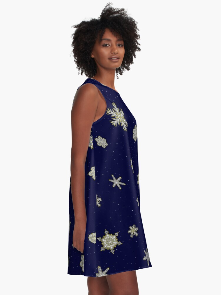 Alternate view of Gilded Space Snowflake A-Line Dress