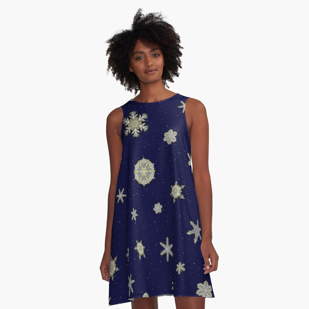 Gilded Space Snowflake A-Line Dress