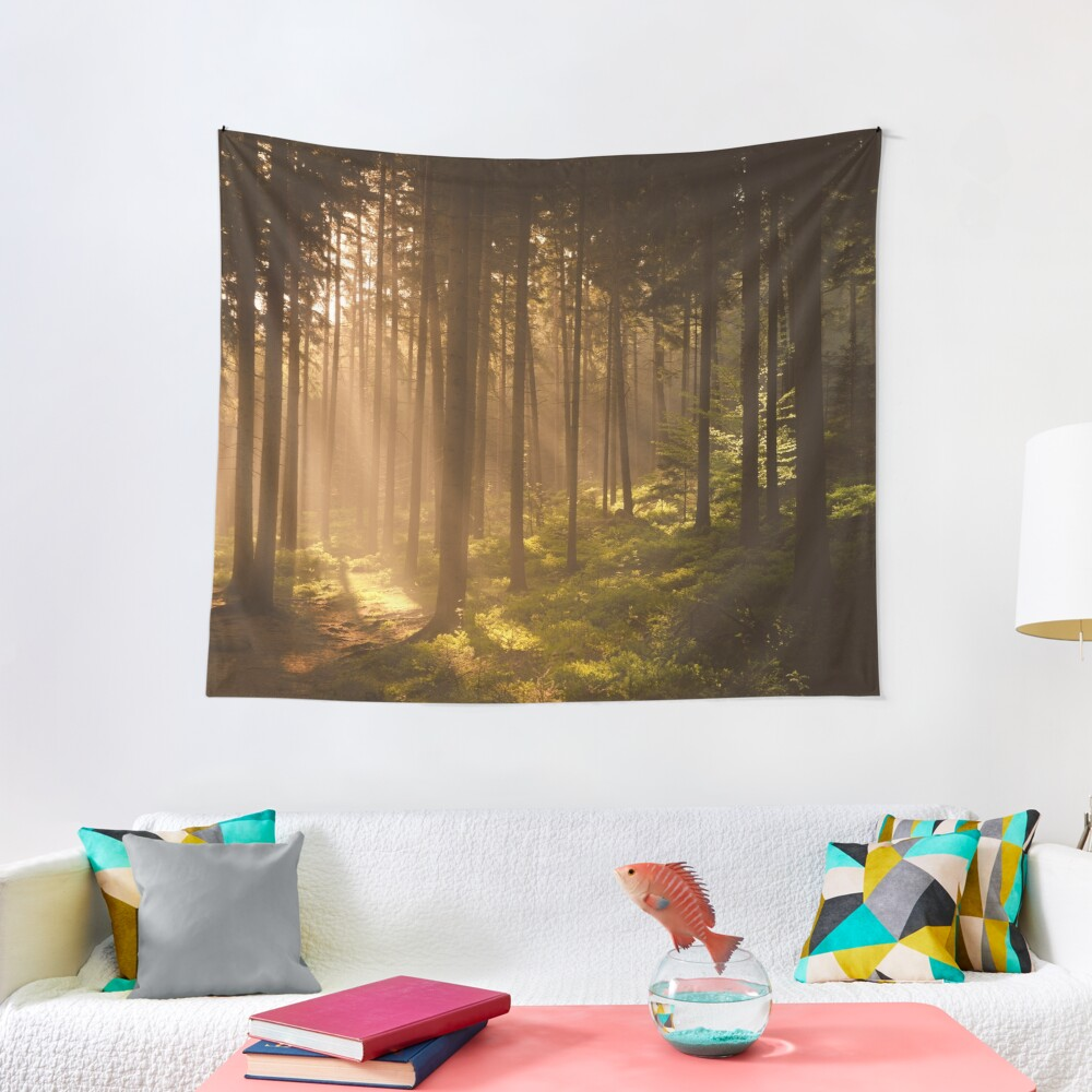 Morning forest Tapestry