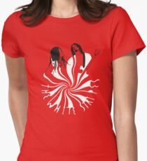 Candy Cane Children (on red) Women's Fitted T-Shirt
