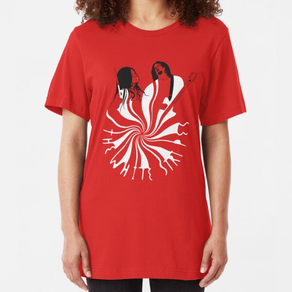 Candy Cane Children (on red) Slim Fit T-Shirt