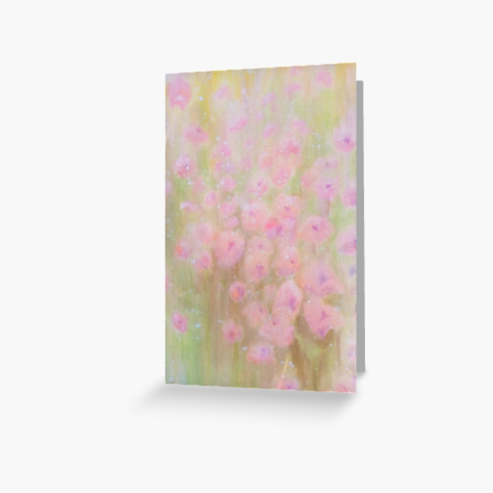 Poppies in Pale Pink (Meadow Collection) watercolour by Penny Bonser Greeting Card