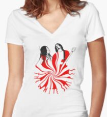 Candy Cane Children Women's Fitted V-Neck T-Shirt