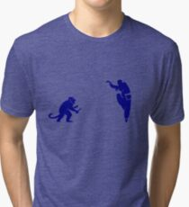 Monkey Kung Fu with Knife Tri-blend T-Shirt