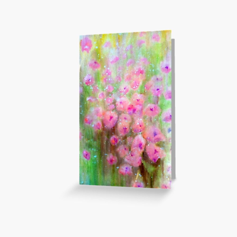 Poppies in Pink vibrant  (Meadow Collection) watercolour by Penny Bonser Greeting Card