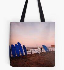 Saltburn, surfboards & sunset Tote Bag