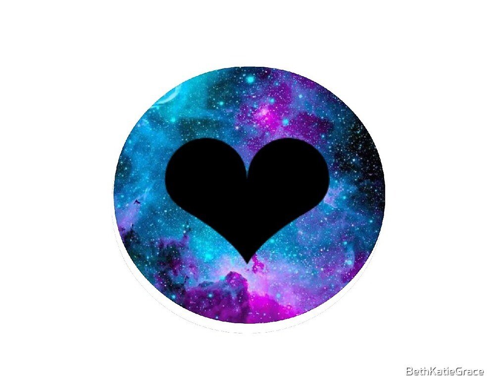 """""""Love heart with galaxy styled background"""" by ..."""