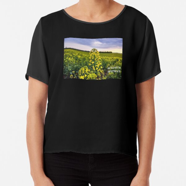 Rapeseed - Rapeseed Flower Photo - Nature - GPS Coordinate Chiffon Top