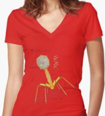 T1 Mechanovirus Women's Fitted V-Neck T-Shirt