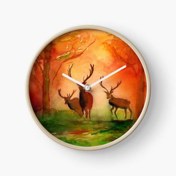 Autumn Woodland Watercolour Painting Clock