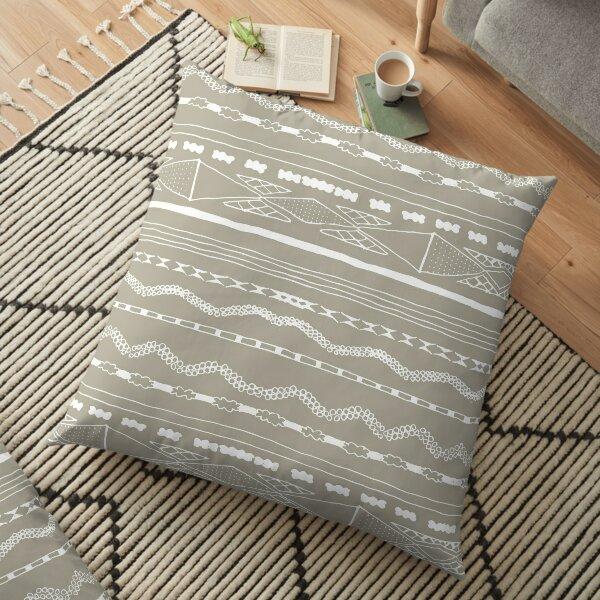 Grey and white folk print Floor Pillow
