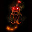 Biohazard Symbol on black - iPhone and iPod skin (smaller design) by Scott Mitchell