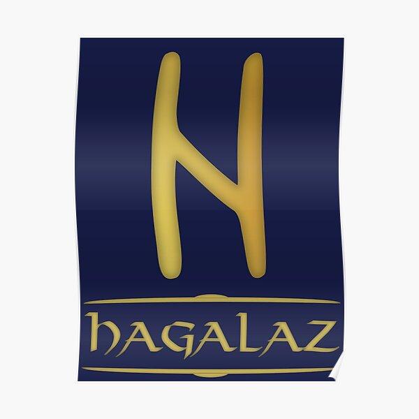 Hagalaz - Rune / Älteres Futhark / Serie aus 24 Runen Poster