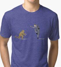 Monkey Fu with Knife (detail) Tri-blend T-Shirt