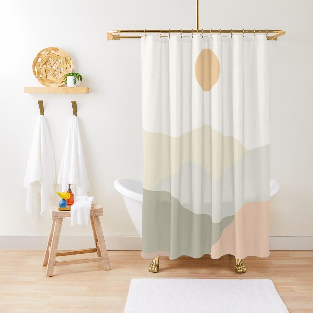 Minimalist Landscape Mountains Shower Curtain