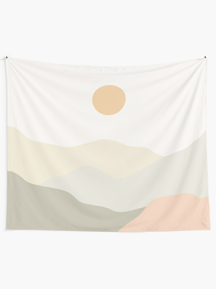 Alternate view of Minimalist Landscape Mountains Tapestry