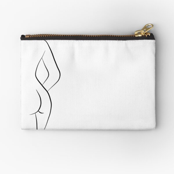 Woman Body Silhouette Line Drawing - Hello Helena Zipper Pouch