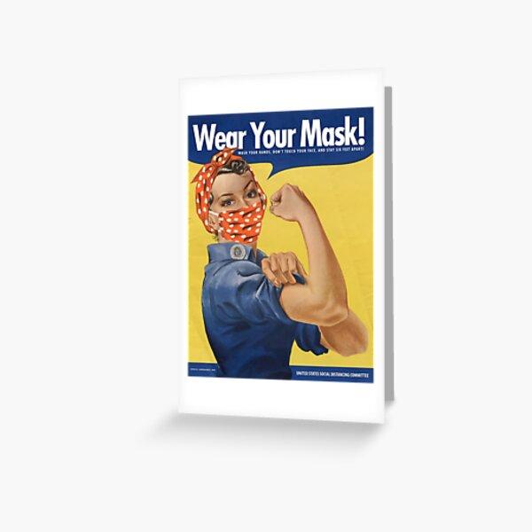 Portez votre masque! COVID Rosie Carte de vœux