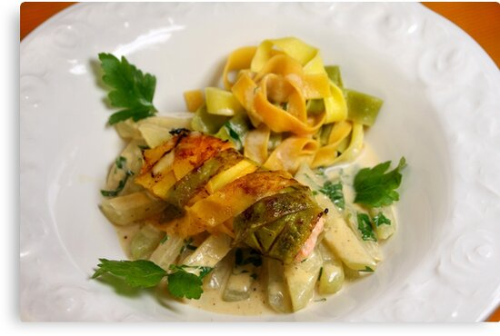 Pasta Roulette Tricolore with Salm and Kohlrabi Sticks by SmoothBreeze7