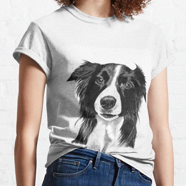 WOMENS BORDER COLLIE DOG SKETCH T SHIRT PETS BEST FRIEND HOUND POOCH