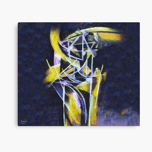 Structures in yellow and violet Canvas Print
